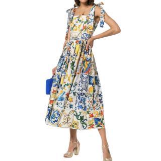 Dolce & Gabbana Majolica Print Self Tie Sun Dress