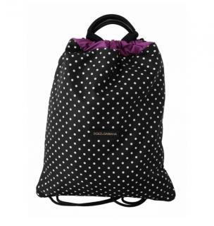 Dolce & Gabbana Black/Purple Polka Dot Drawstring Backpack