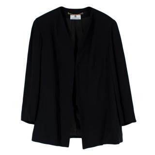 Givenchy Black Crepe Front Tie Collarless Vintage Jacket