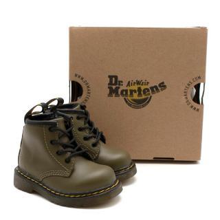 Dr. Martens Olive Green Leather Infant 1460 Ankle Boots