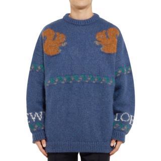 Loewe Men's Blue Squirrel Mohair-blend Knit Sweater