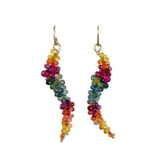 Bespoke Multicoloured Sapphire Wire Drop Earrings