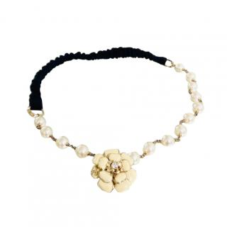Chanel Faux Pearl Camellia Headband