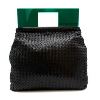 Bottega Veneta Black Leather Intrecciato Plexi Bag