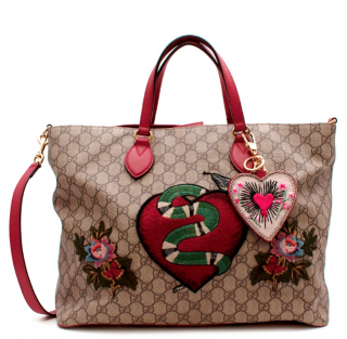 Gucci Limited Edition Red & Brown GG Monogram Canvas Shopper Bag