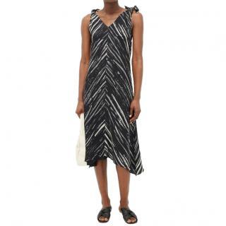 Proenza Schouler White Label Black & White Crepe Knot Sleeve Dress