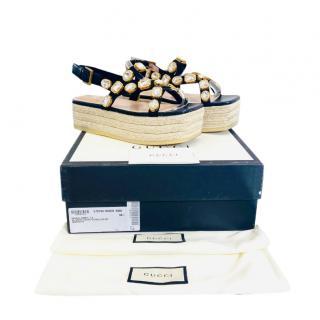 Gucci Crystal Embellished Platform Espadrille Sandals