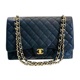Chanel Black Caviar Leather Jumbo Flap Bag GHW