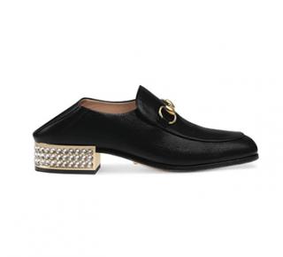 Gucci Black Leather Horsebit Crystal Embellished Loafers