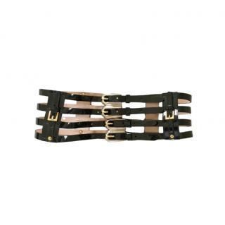 Dolce & Gabbana Black Patent Strappy Waist Belt