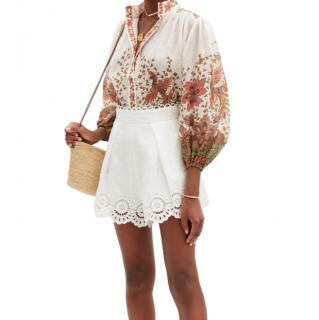 Zimmermann Empire batik-print ramie-poplin blouse
