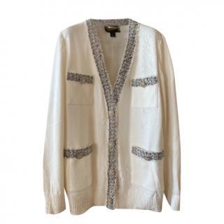 St John Couture Cream Crystal Embellished Cardigan