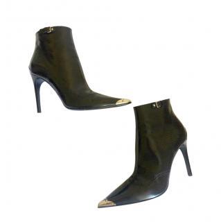 Miu Miu Black Brogue Detail Leather Ankle Boots