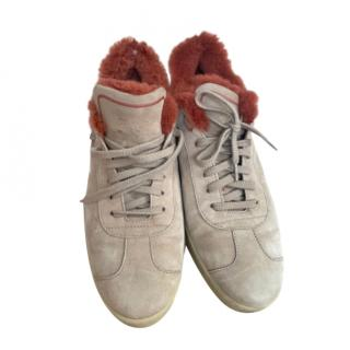 Loro Piana Suede Mink Fur Lined Trainers