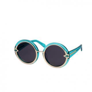 Karen Walker Turquoise Round Sunglasses