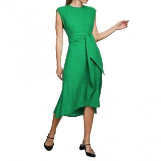 Cefinn Green Freya Dipped Hem Midi Dress
