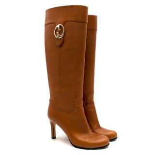 Gucci Brown Leather Knee High Heeled GG Boots