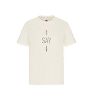 Dior Ecru Linen & Cotton I Say I T-Shirt