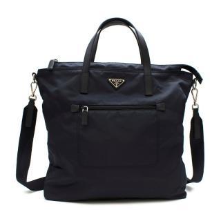 Prada Navy Nylon & Saffiano Leather Tote Bag