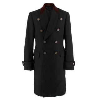 Gucci Black & Red Wool Double Breasted Coat