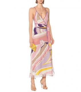 Emilio Pucci Linen Ciwara Print Open Back Midi Dress