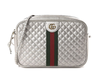 Gucci Silver Laminated Web Detail Small Shoulder Bag
