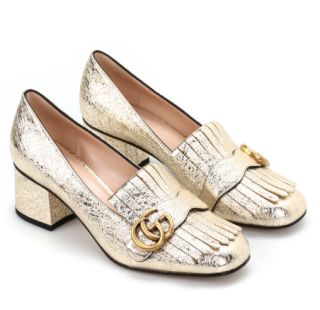 Gucci Metallic Gold Marmont Fringed Loafers