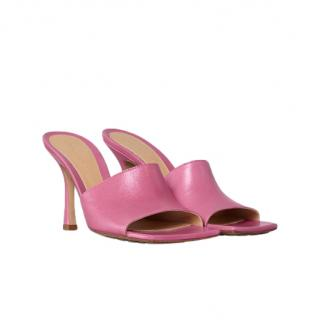 Bottega Veneta Fresia Pink Leather Mules