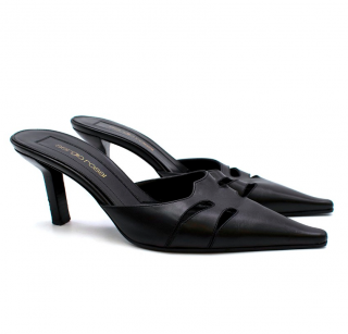 Sergio Rossi Black Cut-Out Leather Mules