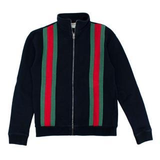 Gucci Navy Cotton Web Stripes Zipped Jacket