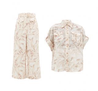 Zimmermann Super Eight Leaf-Print Shirt & Trousers