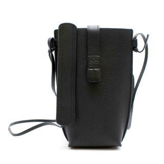 Loewe Black Leather Crossbody Phone Case