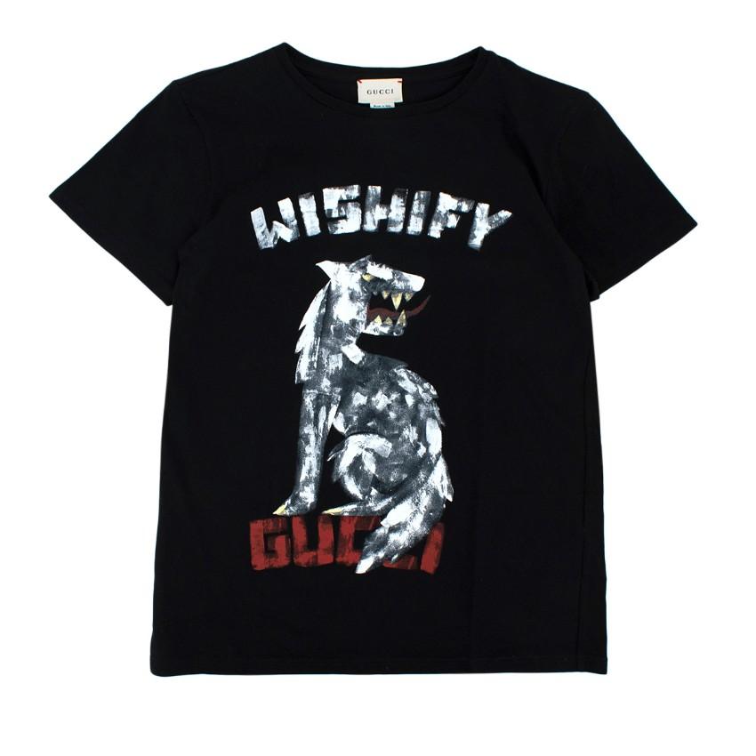 Gucci Black Cotton Wishify Print T-shirt