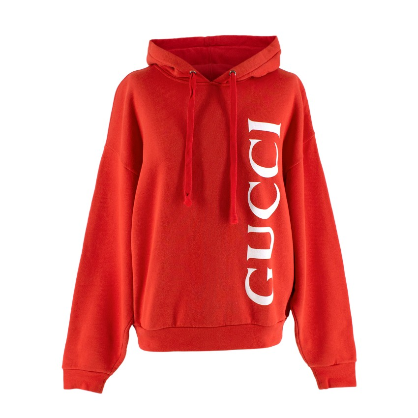Gucci Red Logo Print Oversized Cotton Hoodie