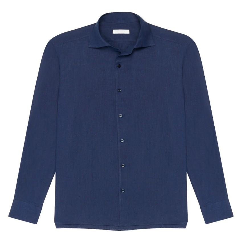 Fralbo Navy Classic Linen Men's Shirt