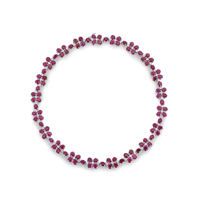 Bespoke 18ct White Gold Diamond & Ruby Floral Necklace
