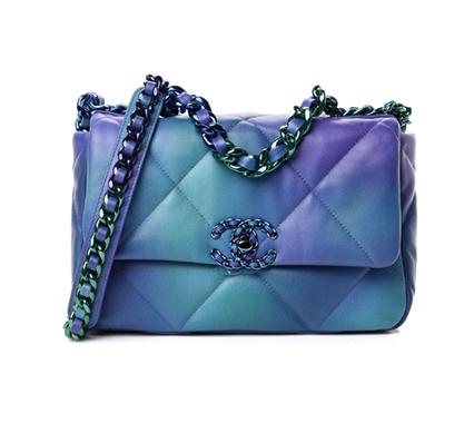 Chanel Blue & Green Tie-Dye Goatskin Small 19 Bag