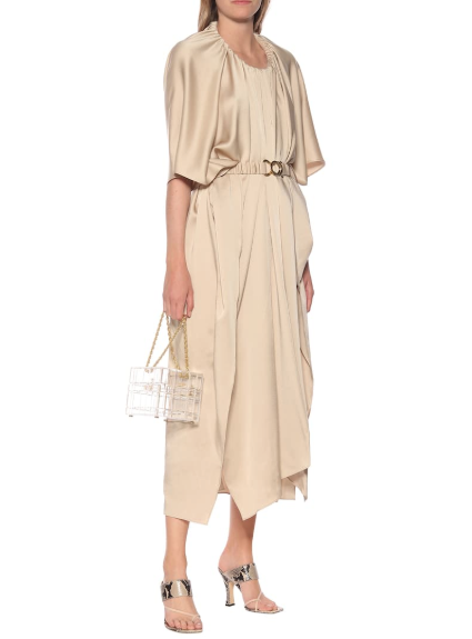 Dodo Bar Or Structured Round Collar Satin Draped Dress
