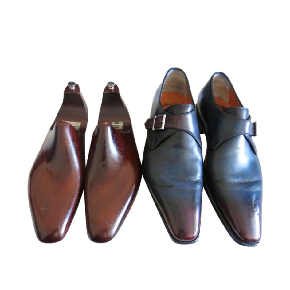 Santoni Blue Bespoke Monk Loafers