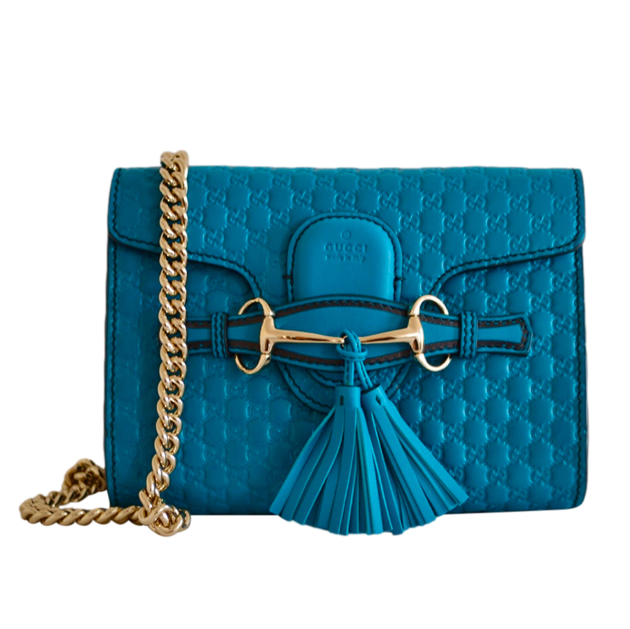 Gucci Turquoise Microguccissima Emily Shoulder Bag