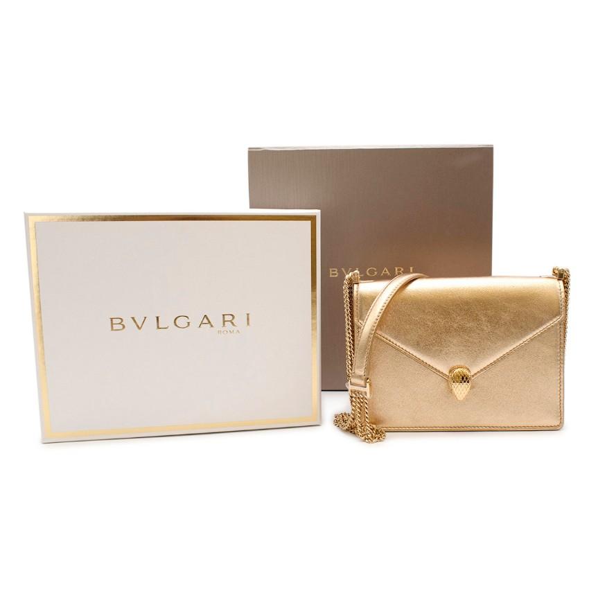 Bulgari Gold Leather Serpenti Forever Shoulder Bag