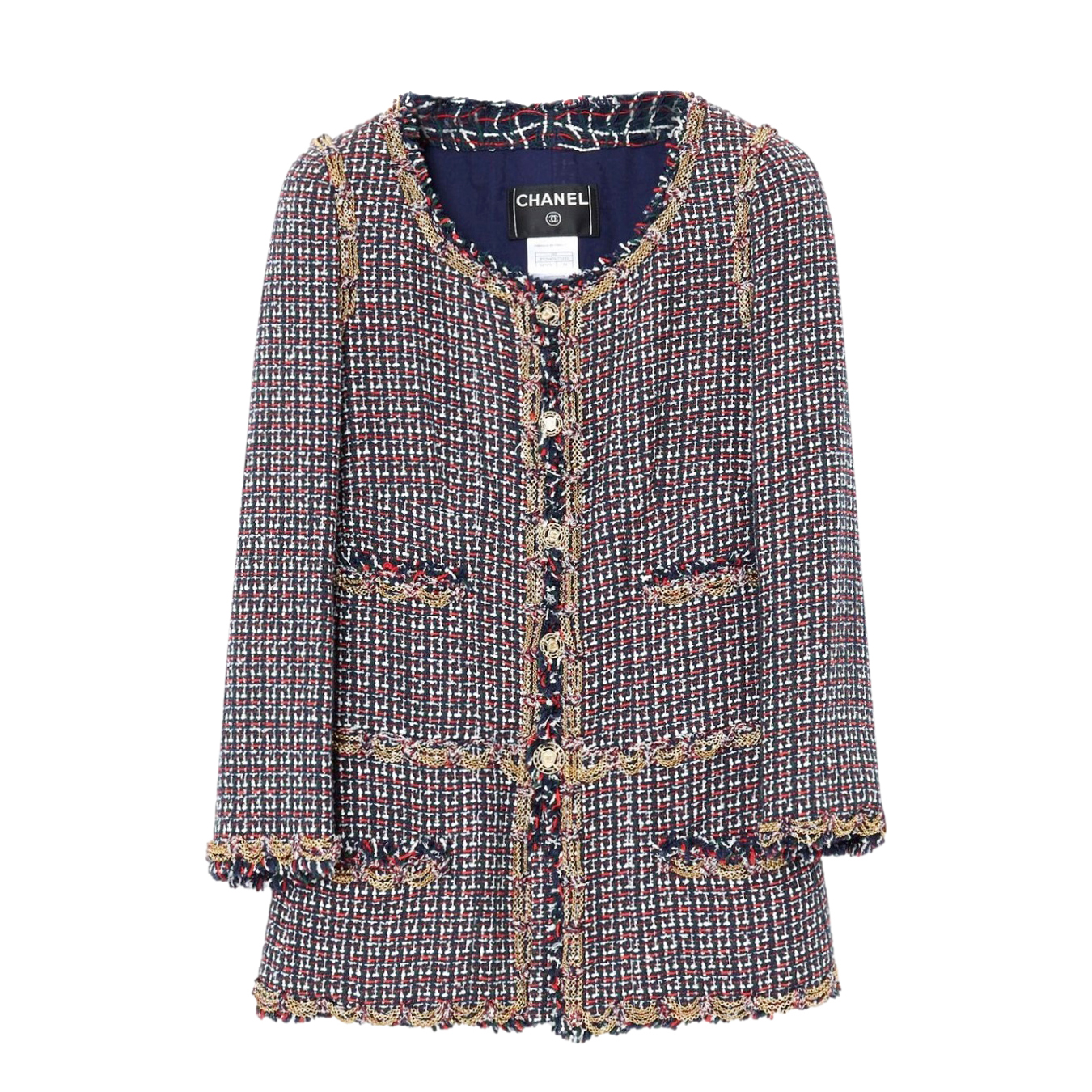 Chanel Chain Detail Multicoloured Tweed Jacket