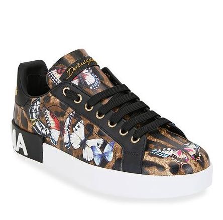 Dolce & Gabbana Leopard & Butterfly Print Low Sneakers