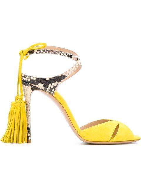 Casadei Yellow Suede & Python Tassel Sandals