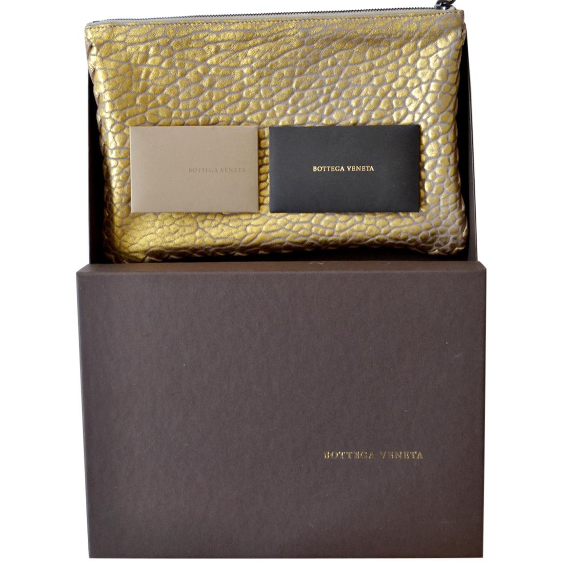 Bottega Veneta Gold Large Grain Zip pouch