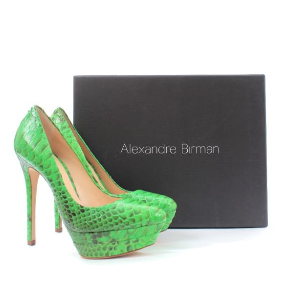 Alexandre Birman Green Python Platform Pumps