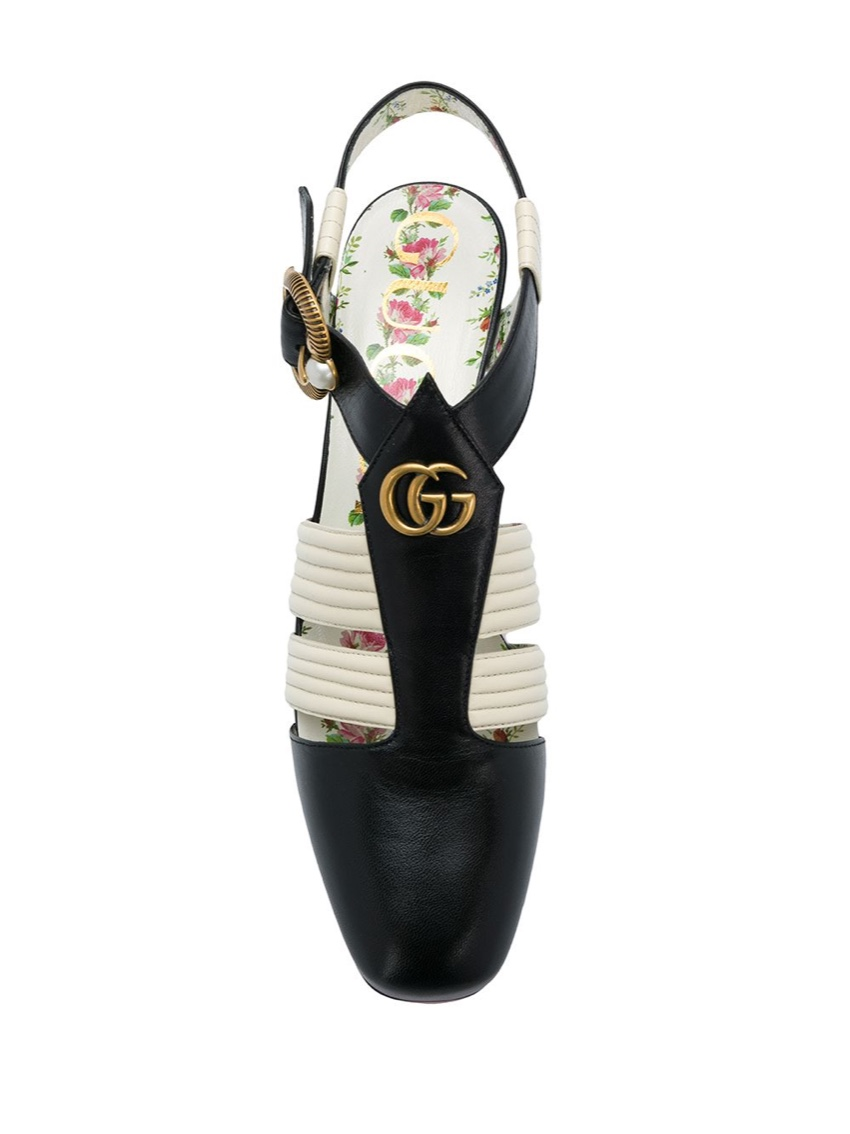 Gucci black and white t strap shoes