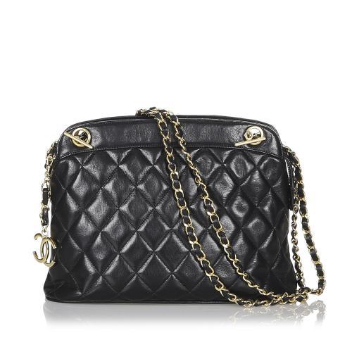 Chanel Vintage Lambskin Navy Shoulder Bag