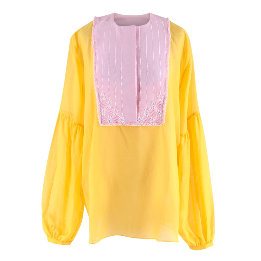 Rue Mariscal Yellow & Pink Oversized Silk Blend Embroidered Top
