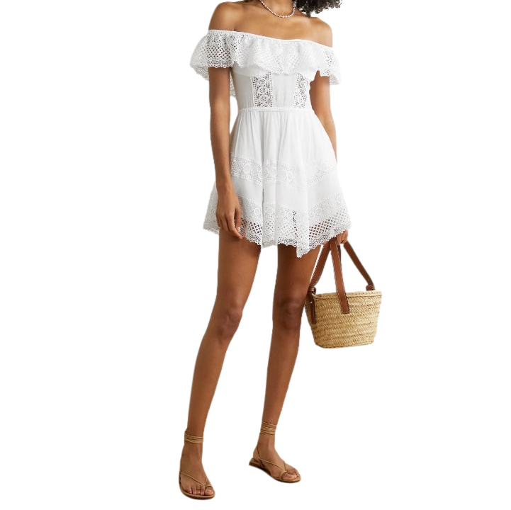 Charo Ruiz White Cotton Lace Trimmed Mini Dress